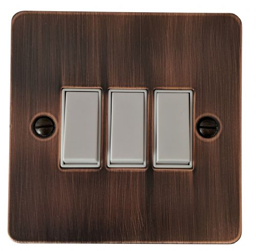 G&H FAC3W Flat Plate Antique Copper 3 Gang 1 or 2 Way Rocker Light Switch
